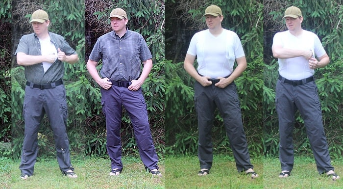 man demonstrating fit of holster shirt