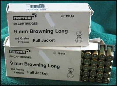 9mm Browning Long ammo at auction.