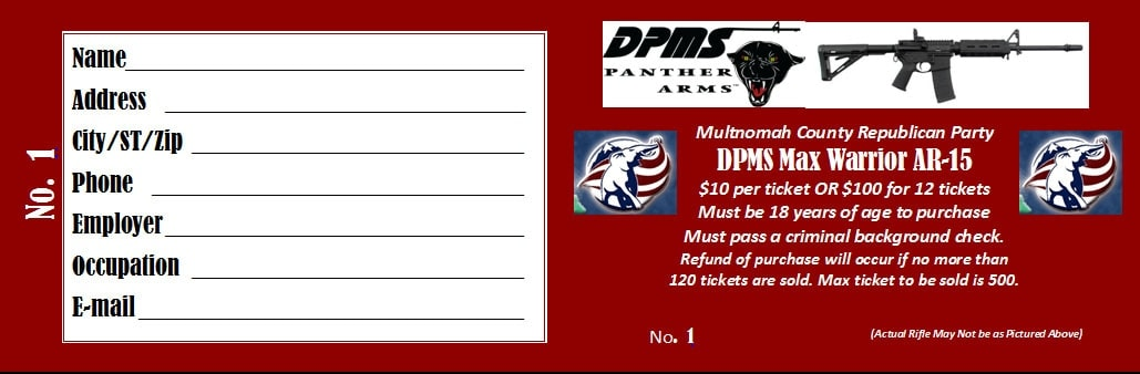 Raffle ticket for a chance to win an AR-15. (Photo credit: Multnomah County Republican Party)