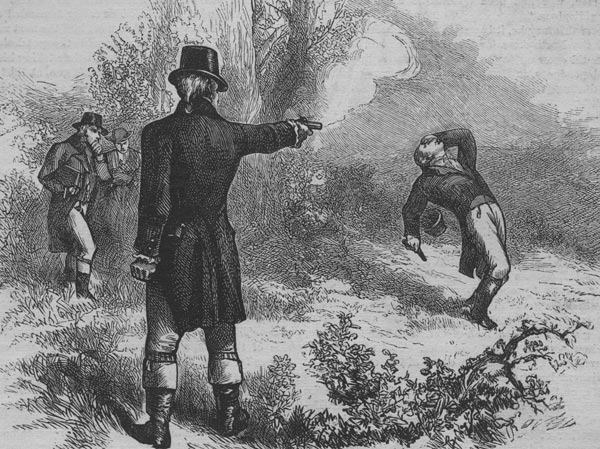 Etching of the famous Burr-Hamilton duel.