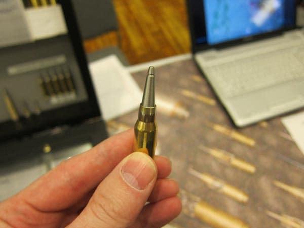 Supercavitating ammunition for shooting underwater.