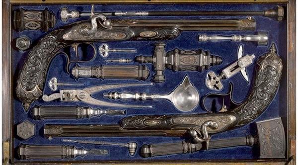 Liegoise percussion dueling pistol set.