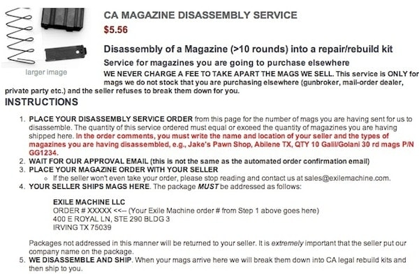 CA Magazine Disassembly Service, Source: Exile
