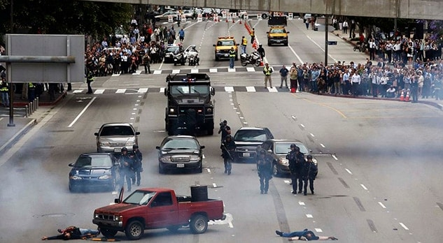 Los Angeles law enforcement officials conduct a demonstration of counter terrorism tactics in Los Angeles