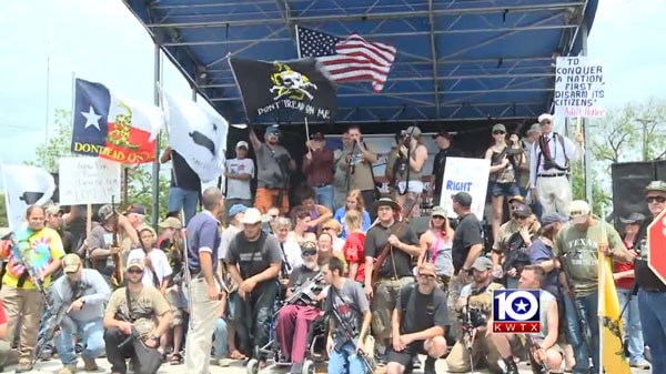 "Protesters gather in Temple, Texas for the ""Come and Take It"" rally. (Photo credit: KWTX)"