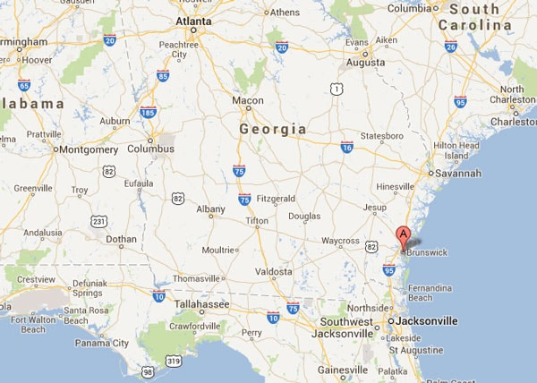 Brunswick, Georgia, where the attempted robbery took place. (Photo credit: Google)