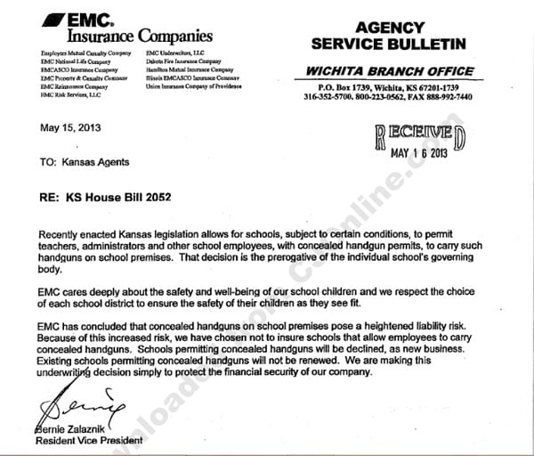 The letter from EMC Insurance Company stating that it will not cover districts with gun toting teachers. (Click to enlarge)