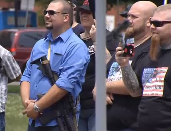Residents open carry both handguns and rifles at a weekend rally in Erie, Penn. (Photo credit: WICU, Erie)
