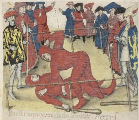 Early judicial duel, fought between two peasants