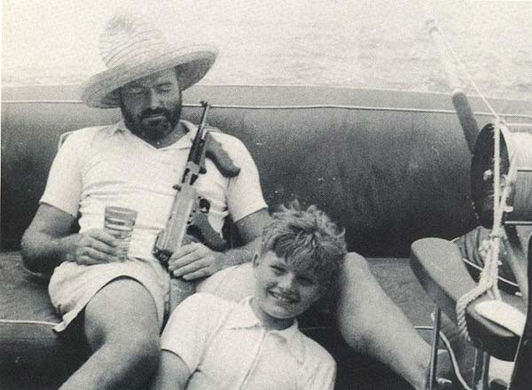 Hemingway and son Jack wait for a nibble on the Pilar.
