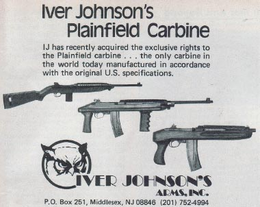 Advertisement for Iver Johnson's Plainfield Carbine