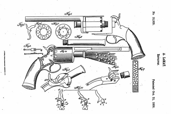 Patent drawing for first model LeMat revolver