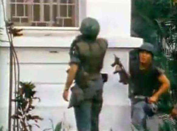 Footage of US soldiers with M12s at US embassy in Saigon, 1968