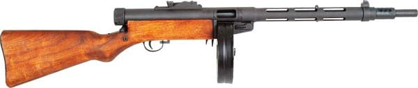 Suomi KP-31 with longer barrel and drum magazine