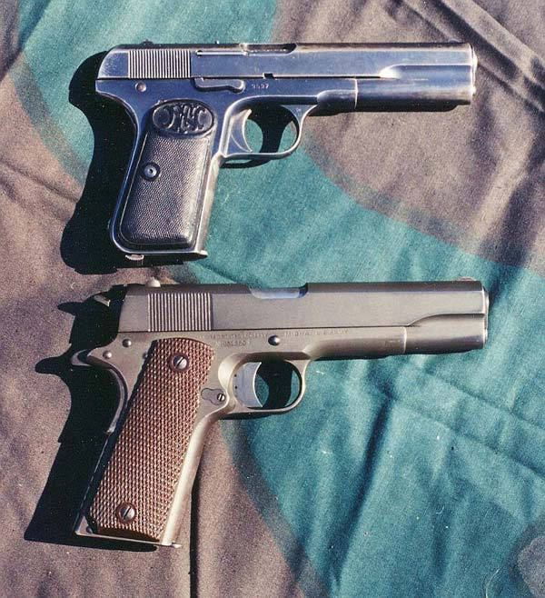 The FN 1903, top, the Colt 1911, bottom