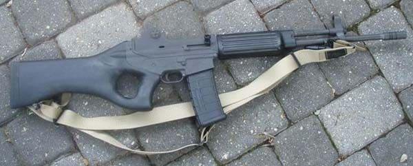 Thumbhole-stocked assault rifle of the 1990s.