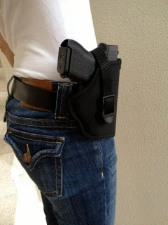 Yewman's Glock.  Hard to conceal.