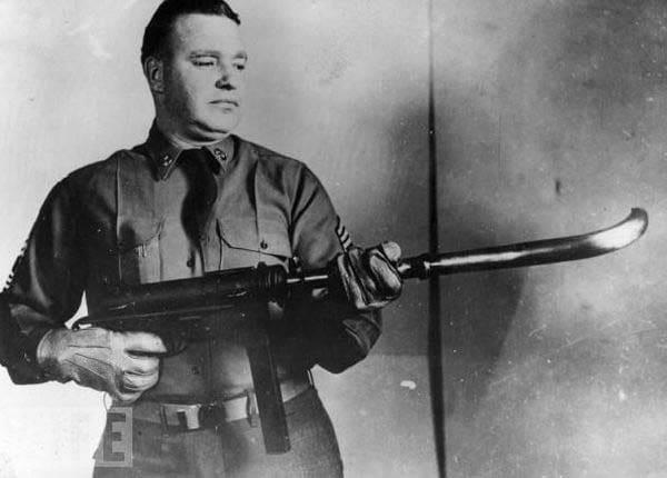 curved barrel M3 submachine gun