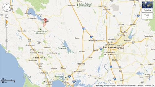 Lower Lake, California is located about 100 miles northwest of Sacramento. (Photo credit: Google)