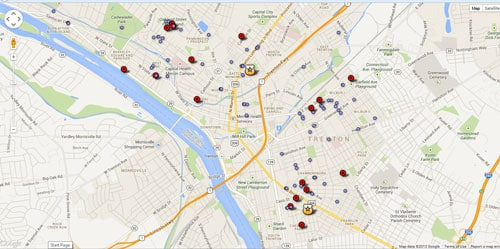 Map showing shootings in Trenton from Jan. 1 to June 30, 2013. Blue dots are non-fatal shootings. Red dots are fatal shootings. (Photo credit: NJ.com)