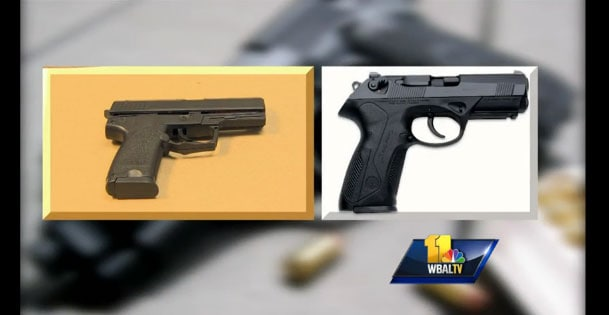 At a glance, with the orange tip removed, the two pistols do look very much alike. (Photo credit: WBAL)