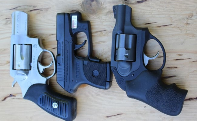 A Ruger SP101, LCP, and LCR