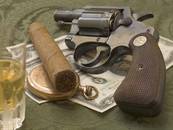 Colt Detective swagger with money cigar and booze