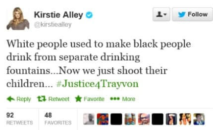 Kirstie Alley Tweet, later deleted.