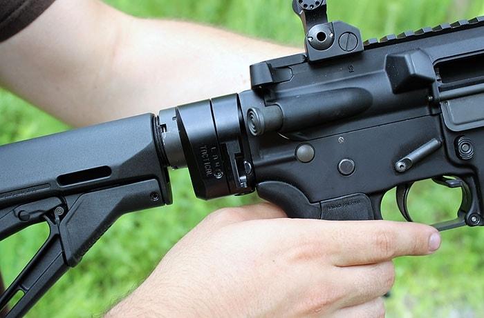 stock adapter on semi automatic rifle