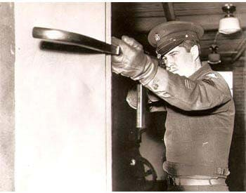 Early tests of bent barrel M3 SMG.