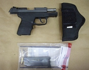 The Kel-Tec PF9 used by George Zimmerman when he fatally shot Trayvon Martin during an incident between the two on Feb. 26, 2012 in Sanford, Florida.