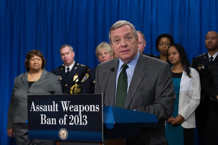 Sen. Dick Durbin speaking shortly after the new Assault Weapons Ban was proposed in January.