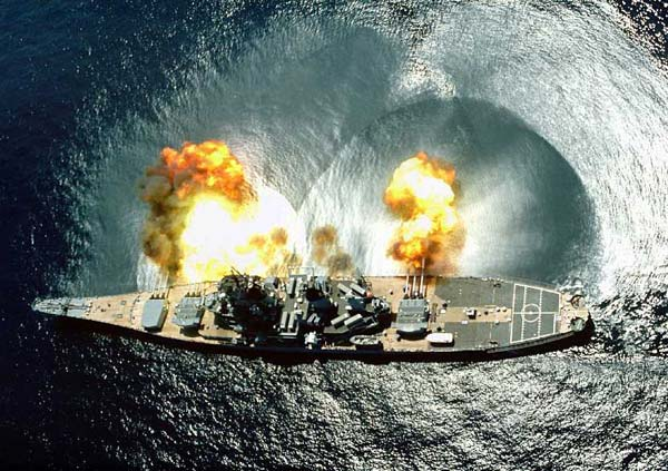 USS Iowa firing