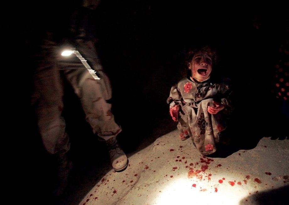 Tal Afar January 18, 2005 Samar Hassan, five, screams moments af