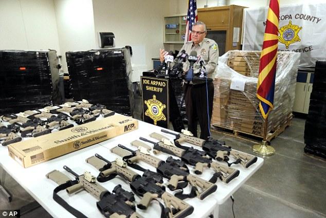 Sheriff Joe Arpaio shows off his 400 new AR-15's