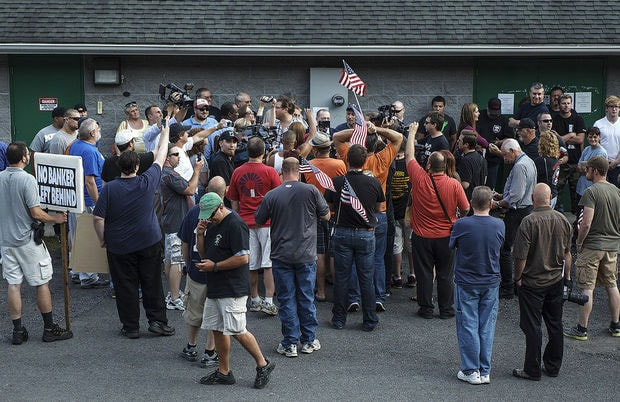 Protesters, both for and against Kessler's suspension, gathered outside during a meeting of the Gilberton Borough Council. (Photo credit: Penn Live)