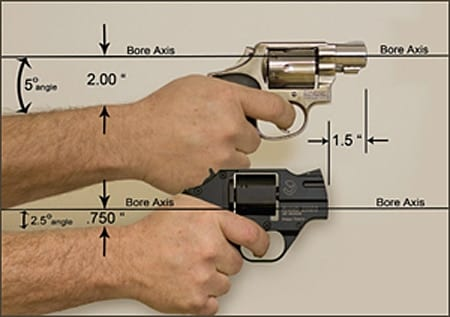 Note the sharper angle of the top of the hand on the Rhino compared to the flatter hold on the J-frame.