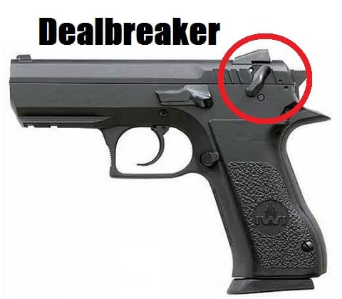 I love the Jericho 941, but the slide-mounted safety is a dealbreaker.