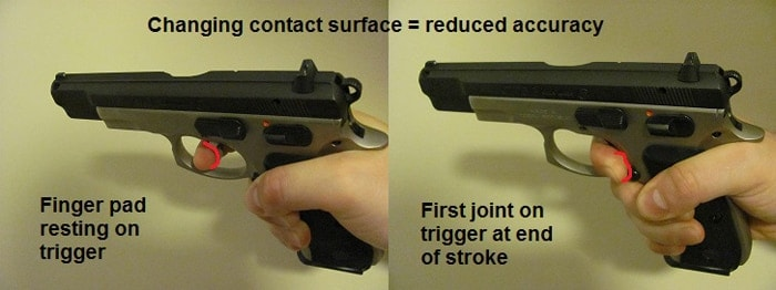 During the trigger pull, if the trigger is too close or grip is too small, your finger may slide around it, tremendously reducing accuracy.