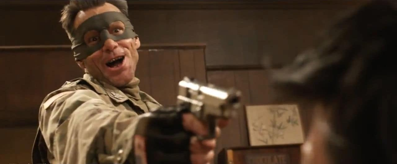 Colonel Stars and Stripes (Jim Carrey) aiming a S&W 5946 at somebody's head.