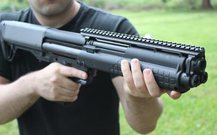 man holding the ksg rifle