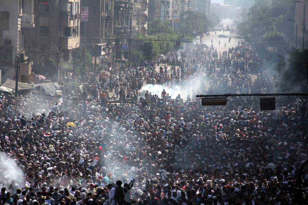 The Muslim Brotherhood clashed with police near Ramses in Cairo.