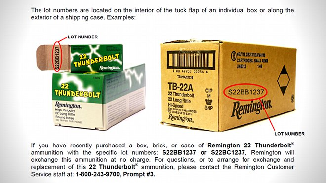 remington thunderbolt 22 recall notice