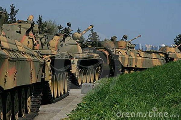 Line of soviet tanks