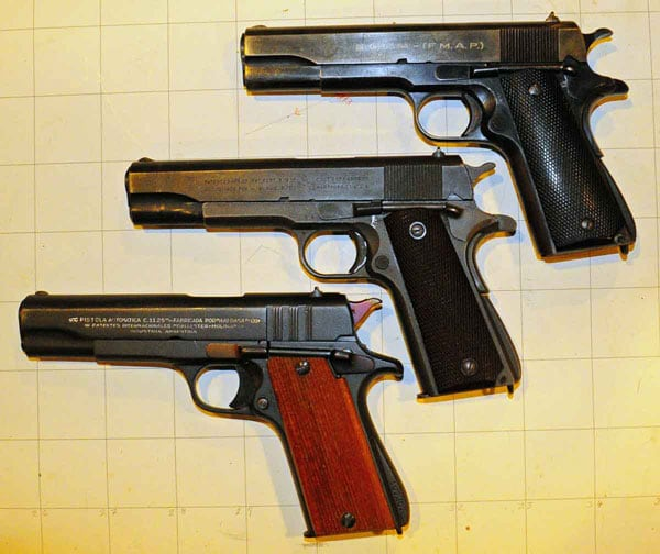Systema 1927 (top), Colt 1911 (middle), Ballester-Molina (bottom).  Note