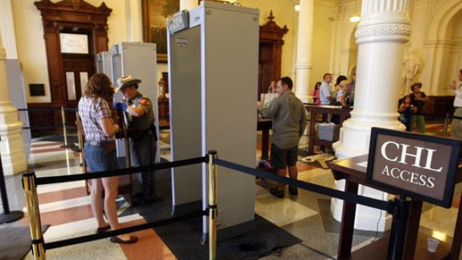 """The Texas state capitol in Austin offers a sort of """"express lane"""" for concealed handgun license holders. (Photo credit: Fox News)"""
