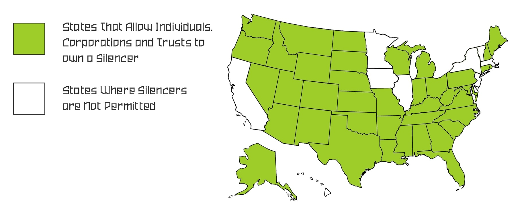 It is legal to own a silencer in the green states.