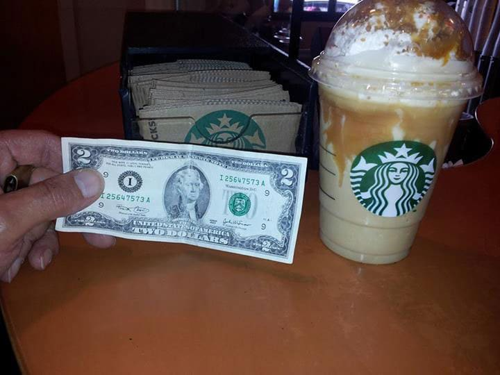 """On """"Starbucks Appreciation Day"""" many gun rights advocates tipped the baristas with $2 bills, representative of the Second Amendment. (Photo: Facebook)"""