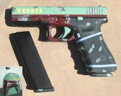 Glock 17 painted to look like Boba Fett's helmet