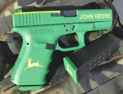 Glock 23 painted in John Deere GreenYellow DuraCoat with all the cool JD accents